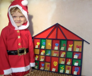 Advent calendar with Santa
