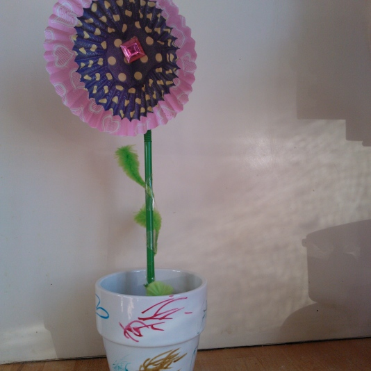 Flower made from repurposed cupcake cases