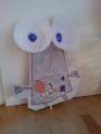 Robot with cupcake case eyes
