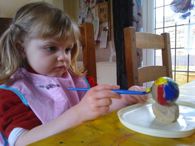 Decorating egg with acrylic paint