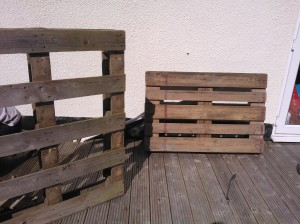Wooden pallets before upcycling