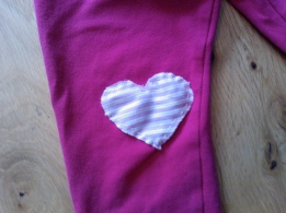 Girls' leggings patched with repurposed man's shirt