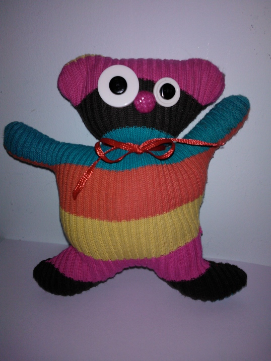 Jumper repurposed into a soft toy