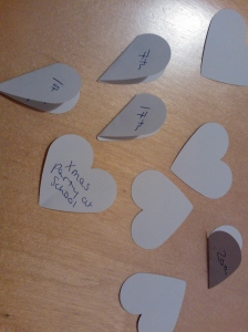 Paper hearts with advent activities
