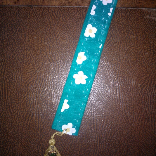 Fabric bookmark with recycled jewellery