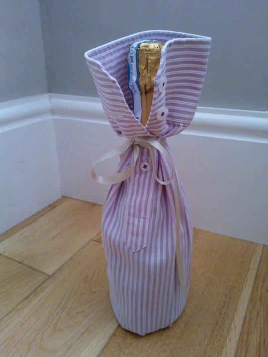 Upcycled shirt gift wrap