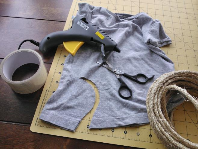 glue gun, fabric, scissors and rope upcycle project