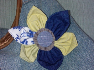 Upcycled clothing fabric flower brooch
