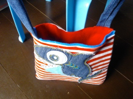 Upcycled jeans into bag straps