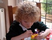 Decorating a hardboiled egg