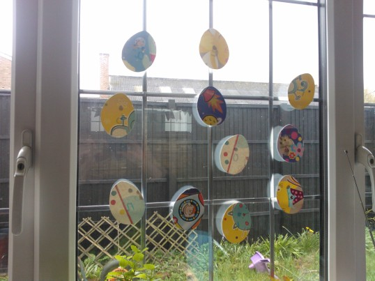 Easter egg decorations made from recycled birthday cards