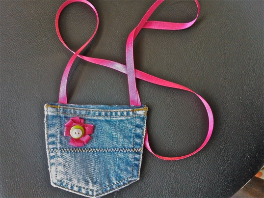 Scrap fabric and reused jeans bag