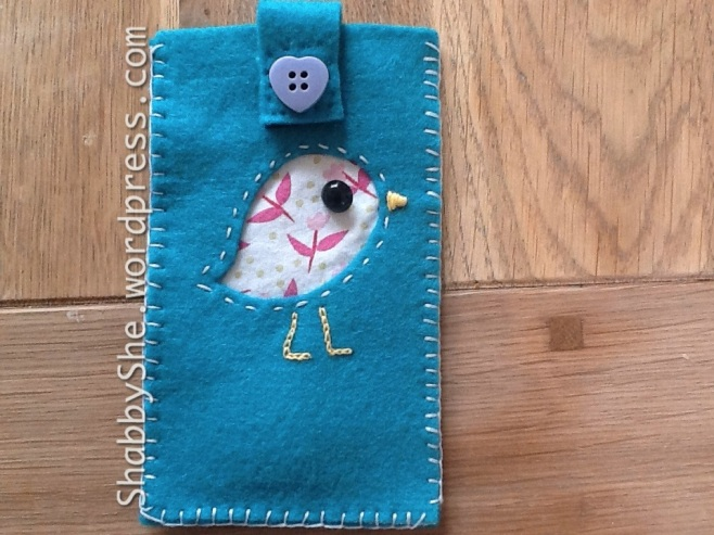 Felt and fabric applique phone pouch