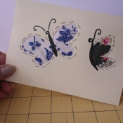 handmade greetings card with appliqued fabric