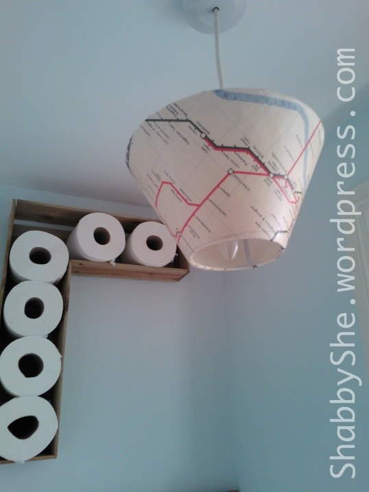 Decoupaged map lampshade cover
