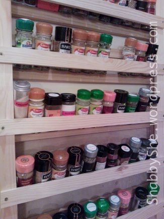 Repurposing cot into spice rack
