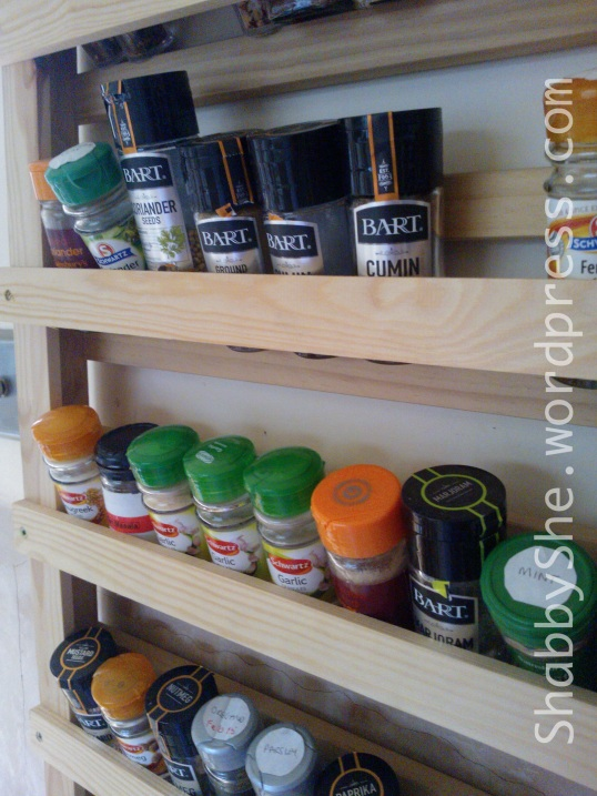 Handmade large wall-mounted spice rack