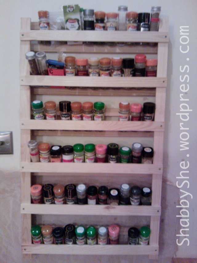 Spice rack made from repurposed cot base