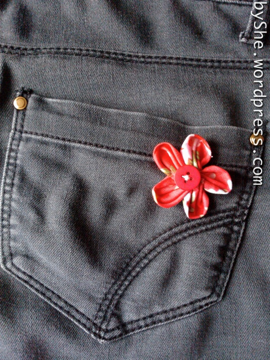 Fabric flower with button centre