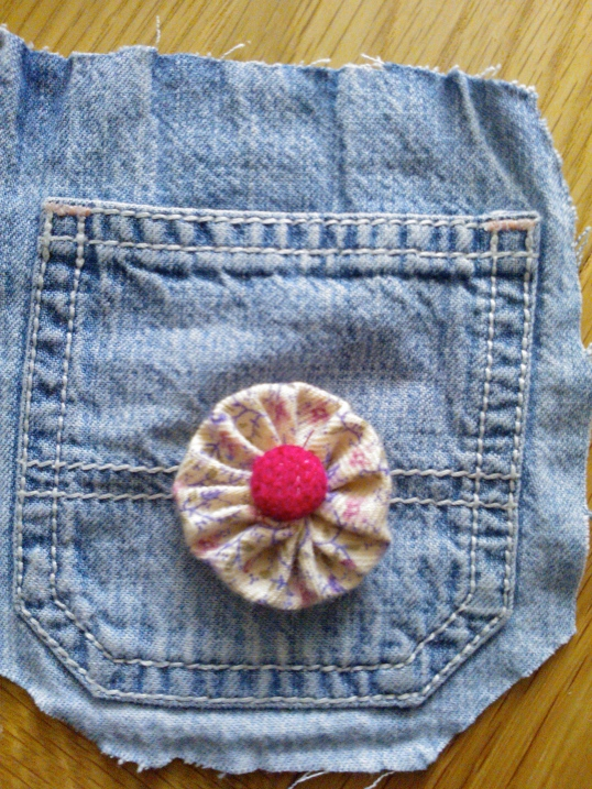 Denim pocket upcycle with scrap fabric flower