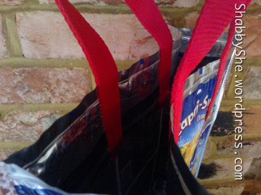 Double strength handles - recycled juice pouch shopper