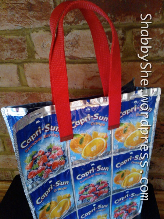 Large tote made from recycled Capri Sun pouches
