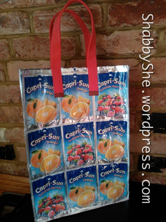 Juice pouches repurposed into large bag