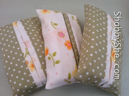 Tissue pouches using upcycled fabric in pretty coordinating fabrics