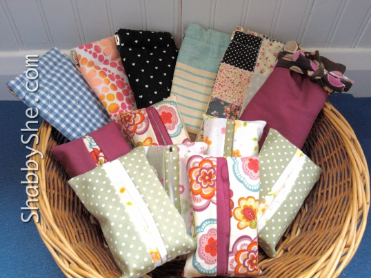 Tissue pouches and sunglass cases made from scrap fabric