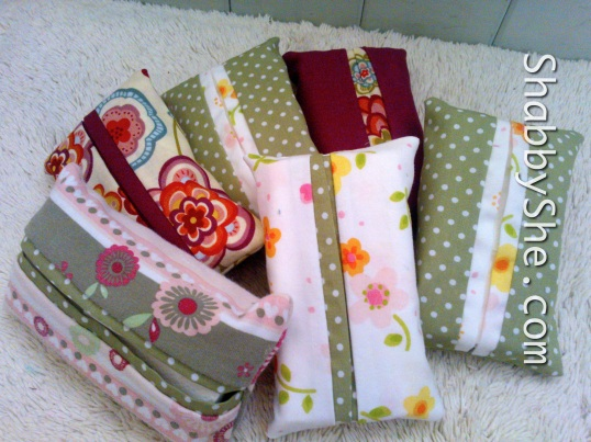 Tissue pouches made from scrap fabric