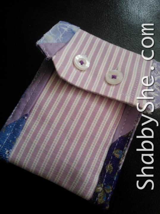 upcycled shirt cuff made into tissue pouch