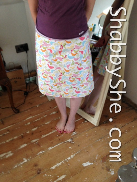 Cotton a line skirt with bird print fabric