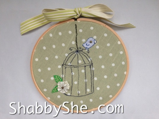 embroidery hoop art using upcycled fabric