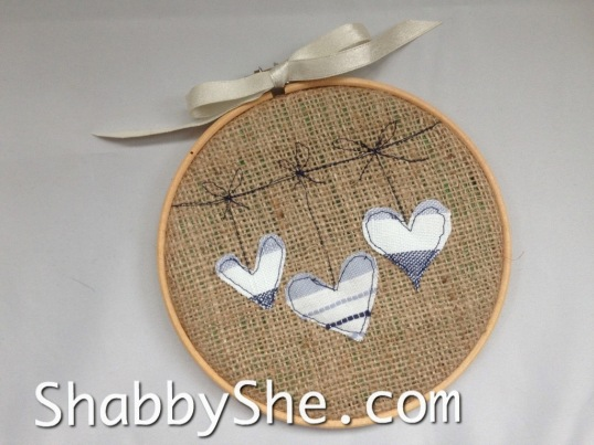 burlap hoop with rustic heart design