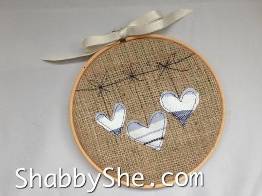 burlap hoop with rustic heart design