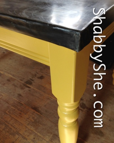 table with repainted yellow legs