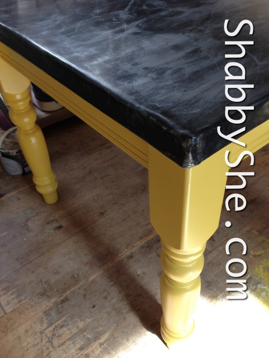 beautiful pine table upcycle using zinc and yellow paint