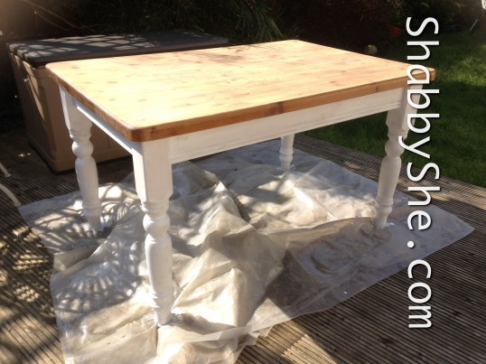 priming pine table legs for repainting