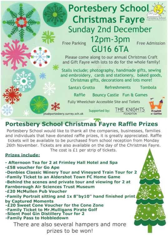 Flyer about Portesbery School's fayre