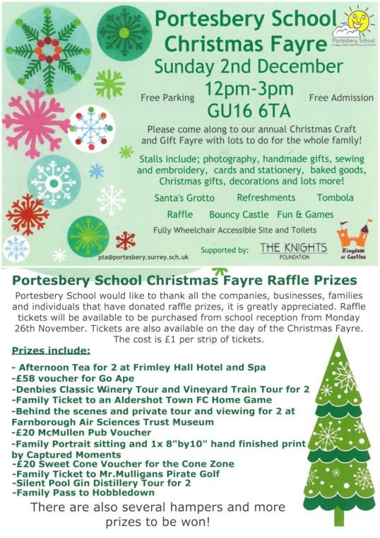 Flyer about Portesbery School's fayre