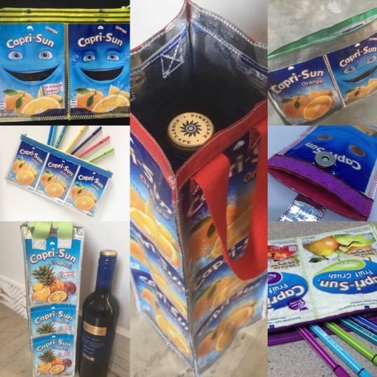 Bags and pencil cases made from Capri Sun packs
